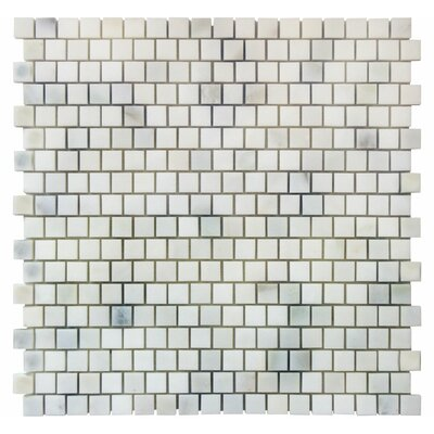 Offset 0.63 x 0.63 Marble Mosaic Tile in Calacatta