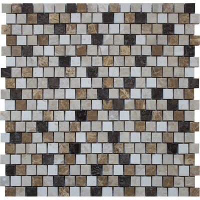 Offset 0.63 x 0.63 Marble Mosaic Tile in Karya Royal