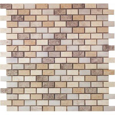 Offset 0.63 x 1.25 Marble Mosaic Tile in Indigo Soul