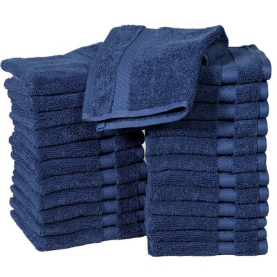 Columbard Fine Combed Cotton Wash Cloth Color: Navy