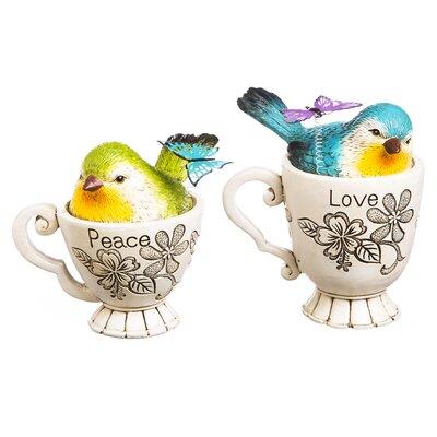Attaway Polyresin Bird in Cup 2 Piece Figurine Set 6223F3EE1A6C4063A2F760C45C78AB3E