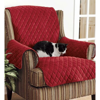Personalized Box Cushion Arm Chair Slipcover Upholstery: Red
