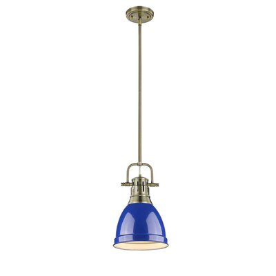 Bodalla 1-Light Mini Pendant Finish: Aged Brass with Blue Shade