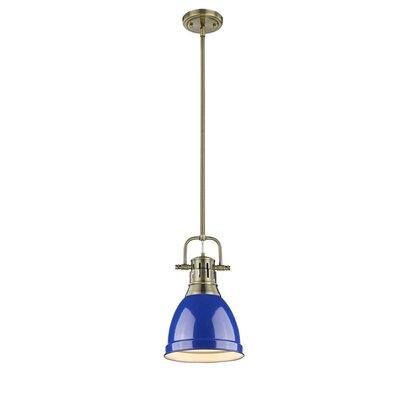 Bodalla 1-Light Mini Pendant Finish: Aged Brass with Blue Shade