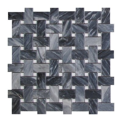 Bardiglio Basketweave 1 x 2 Marble Mosaic Tile in Dark Gray