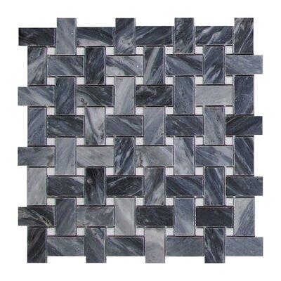Bardiglio Basketweave 1 x 2 Marble Mosaic Tile in Dark Gray