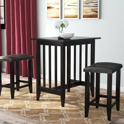 Richland 3 Piece Counter Height Pub Table Set Color: Black