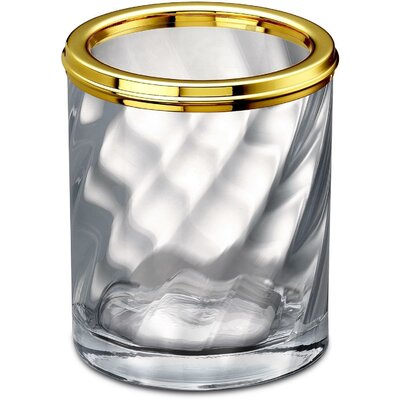 "Inglestone Common Clear Glass Round Table Toothbrush Holder Color: Gold, Size: 3.9"" H x 3.2"" W x 3.2"" D E1710B39BCC944A0BA452963AEBF7A15"