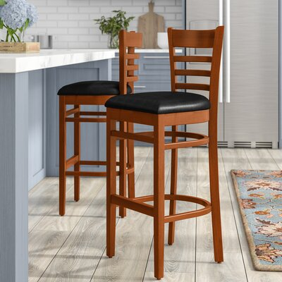 Lyman 29.5 Bar Stool (Set of 2) Color: Cherry, Upholstery: Black Vinyl