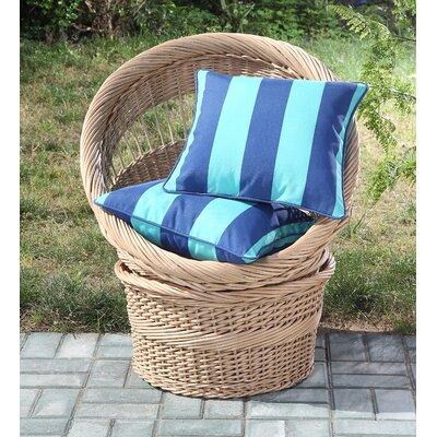 Clairebella Cabana Stripe 2 Piece Outdoor Throw Pillow Color: Blue