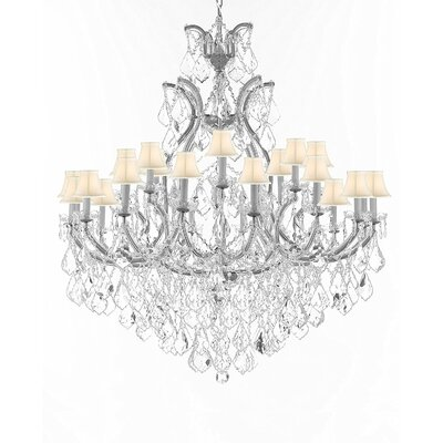 Maclachlan 25-Light Candle-Style Chandelier Finish: Silver, Shade Color: White