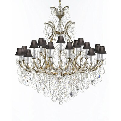 Maclachlan 25-Light Candle-Style Chandelier Finish: Gold, Shade Color: Black