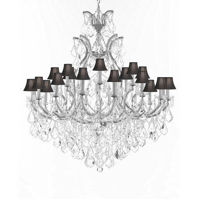 Maclachlan 25-Light Candle-Style Chandelier Color: Silver, Shade Color: Black