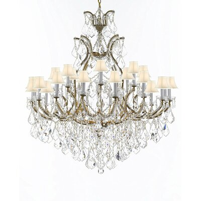 Maclachlan 25-Light Candle-Style Chandelier Finish: Gold, Shade Color: White