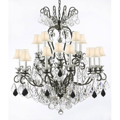 Maclean 16-Light Candle-Style Chandelier Crystal Color: Black