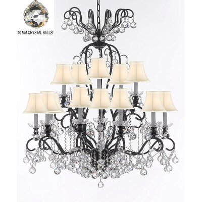 Maclean 16-Light Candle-Style Chandelier Shade Color: White