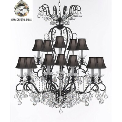 Maclean 16-Light Candle-Style Chandelier Shade Color: Black