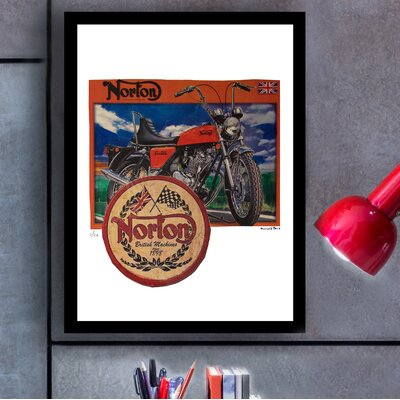 'Norton Motorcycles' Framed Vintage Advertisement 39B875DFA050429A8ED2F364670DA85F