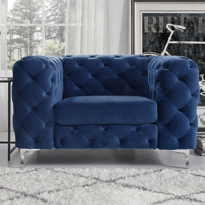 Kogan Tufted Chesterfield Chair Upholstery: Navy Blue
