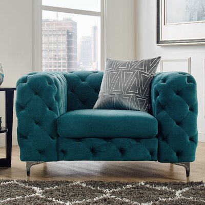 Kogan Tufted Chesterfield Chair Upholstery: Teal