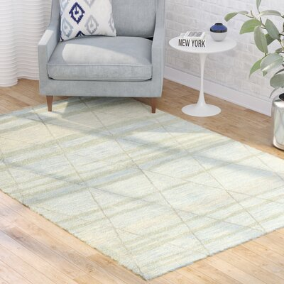 Kelson Hand Tufted Wool Light Blue Area Rug Rug Size: 56 x 86