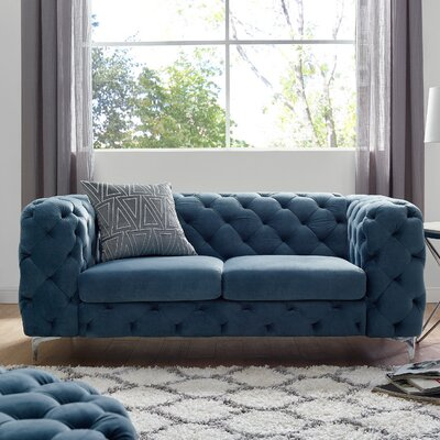 Koger Tufted Chesterfield Loveseat Upholstery: French Blue