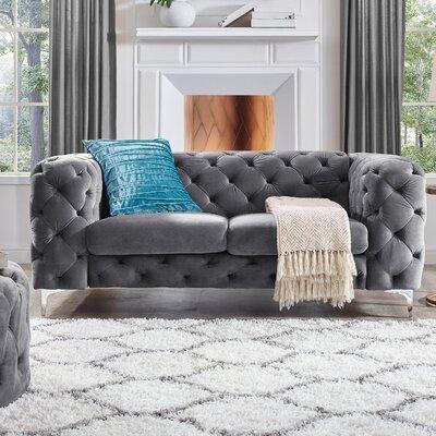 Koger Tufted Chesterfield Loveseat Upholstery: Gray