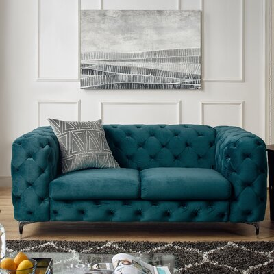 Koger Tufted Chesterfield Loveseat Upholstery: Teal