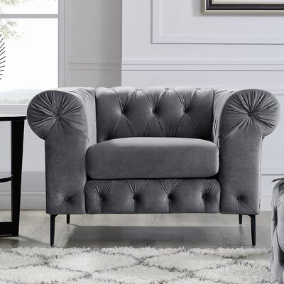 Kohan Chesterfield Chair Upholstery: Gray