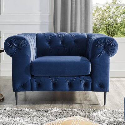 Kohan Chesterfield Chair Upholstery: Navy Blue