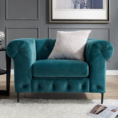 Kohan Chesterfield Chair Upholstery: Teal