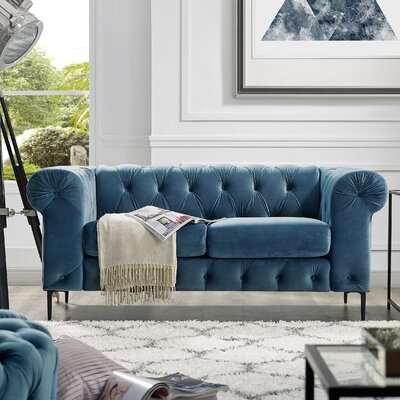 Kohl Tufted Chesterfield Loveseat Upholstery: French Blue