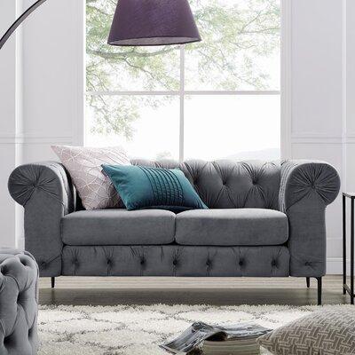 Kohl Tufted Chesterfield Loveseat Upholstery: Gray