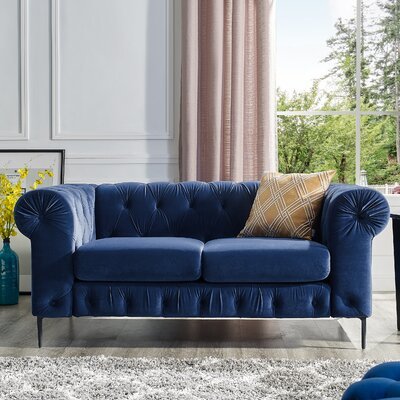 Kohl Tufted Chesterfield Loveseat Upholstery: Navy Blue