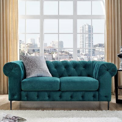 Kohl Tufted Chesterfield Loveseat Upholstery: Teal