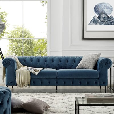 Kohlmeier Chesterfield Sofa Upholstery: French Blue