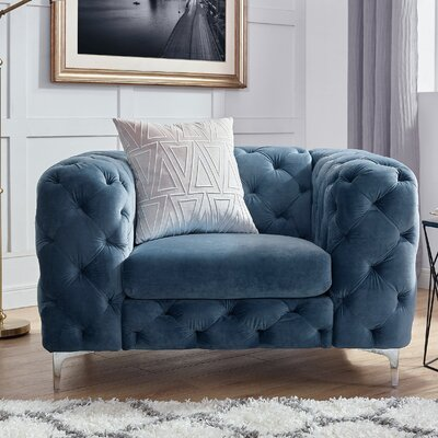 Kogan Tufted Chesterfield Chair Upholstery: French Blue