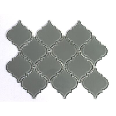 Water Jet 3 x 3 Glass Mosaic Tile in Ocean Gray