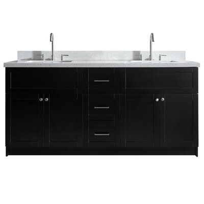 Westman 73 Double Bathroom Vanity Set Base Finish: Black, Top Finish: White