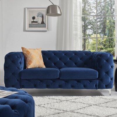 Koger Tufted Chesterfield Loveseat Upholstery: Navy Blue