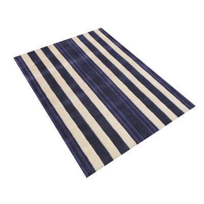 Brownfield Vertical Lines Hand-Tufted Wool Purple Area Rug