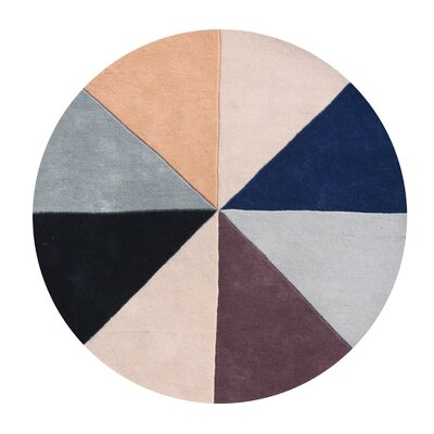 Kinnard Geometric Hand-Tufted Wool Beige/Black/Blue Area Rug