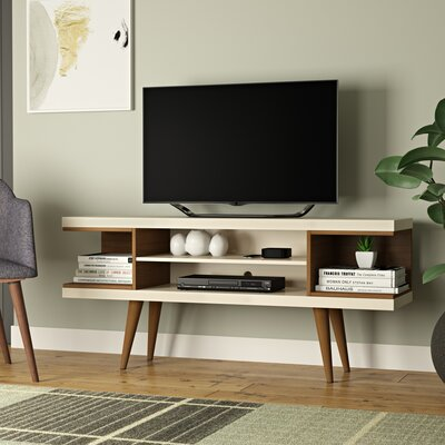 Lemington 53 TV Stand with Splayed Wooden Legs and 4 Shelves Color: Off White/Maple Cream