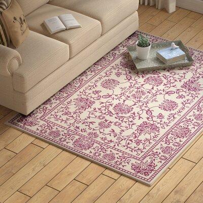 Zander Mahal Ivory/Purple Area Rug Rug Size: 53 x 73