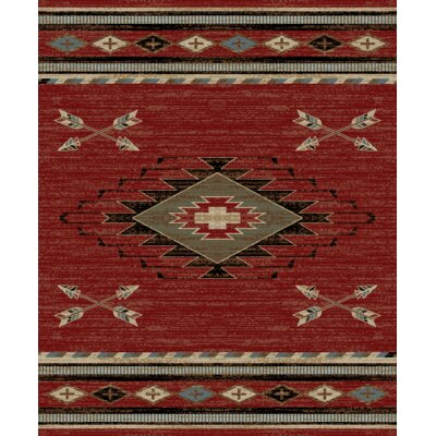 Perrault Red/Gray Area Rug Rug Size: Rectangle 53 x 73