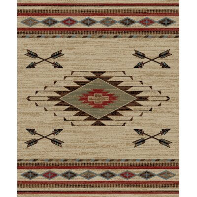 Perrault Ivory/Brown Area Rug Rug Size: Rectangle 53 x 73