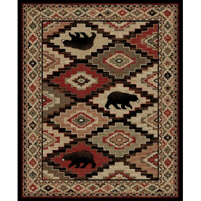 Perri Lodge Bear Beige/Black Area Rug Rug Size: Rectangle 53 x 73