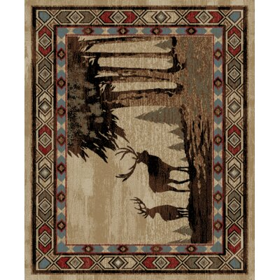 Perrigo Lodge Deer Scene Beige/Gray Area Rug Rug Size: Rectangle 53 x 73