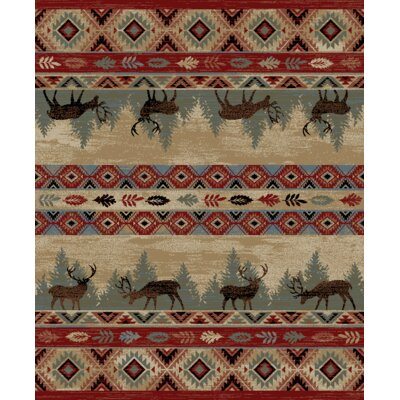 Perrinton Lodge Elk Beige/Red Area Rug Rug Size: Rectangle 710 x 910