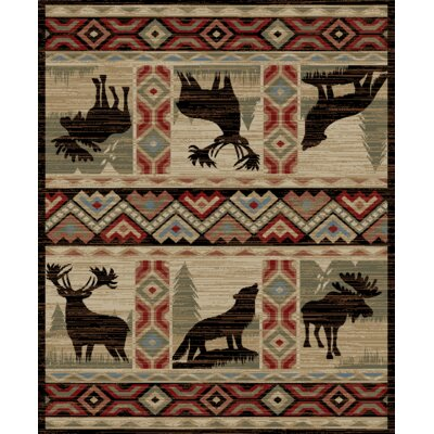 Perrodin Lodge Elk Moose-Wolf Beige/Red Area Rug Rug Size: Rectangle 53 x 73